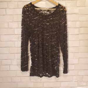 Maurices black lace long sleeve top